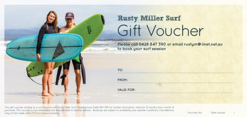 Rusty Miller Surf Gift Voucher